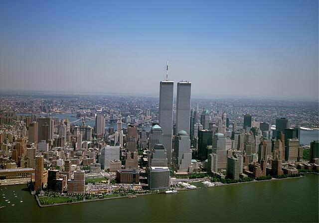 Aerial view of New York City, with the World Trade Center Twin Towers prominent