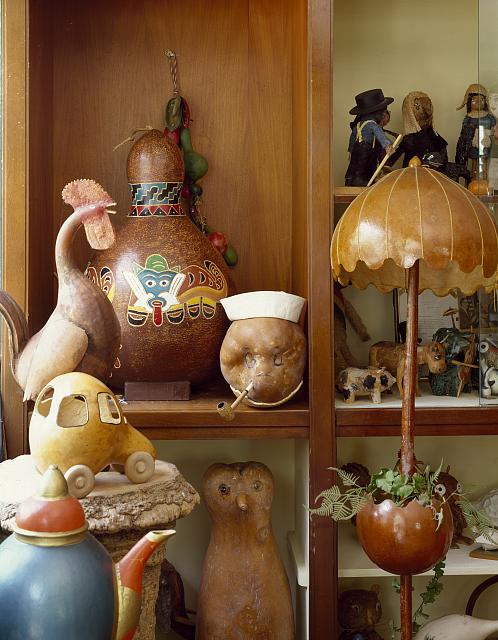 Displays at Mary and Marvin Johnson's Gourd Museum, Kennebec, North Carolina
