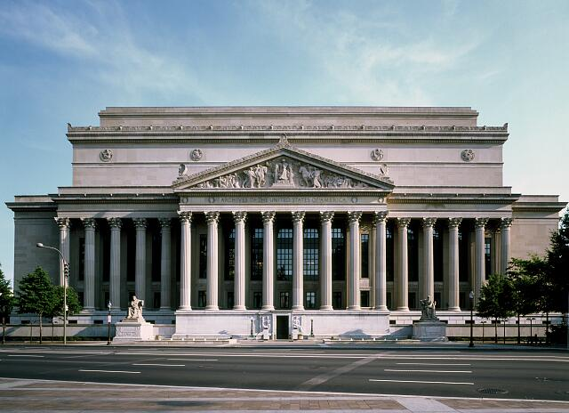 Pennsylvania Avenue view of the National Archives building, Washington, D.C.