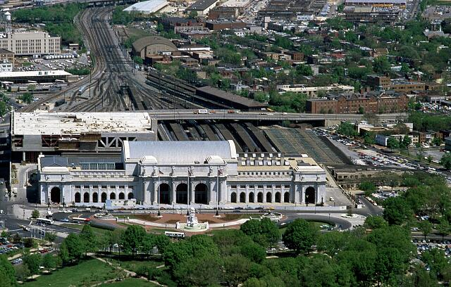Aerial view of Union Station, Washington, D.C.