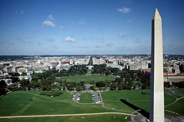 Aerial view of Washington Monument with White house in background, Washington, D.C.