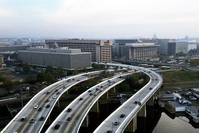 Aerial view of Washington, D.C., looking down upon the Southeast-Southwest Expressway