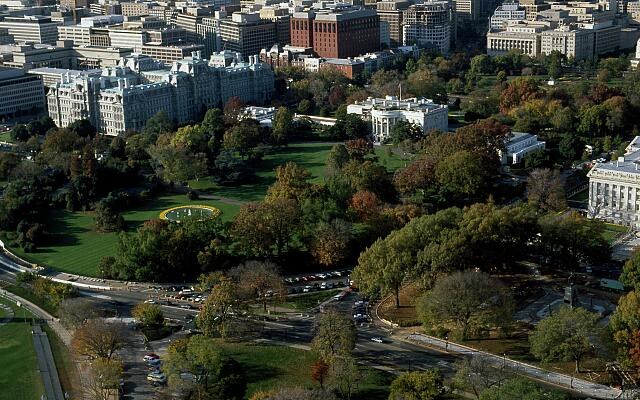 Aerial view of White House on a fall day, Washington, D.C.