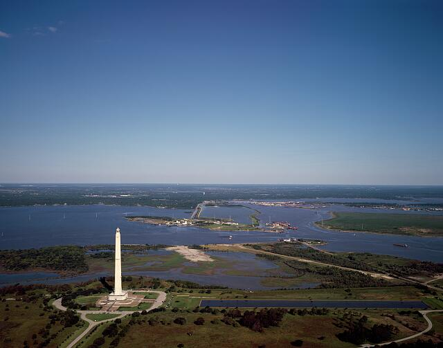Aerial view of Houston, Texas, with focus on the San Jacinto Monument