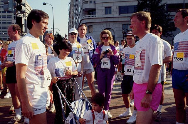 Vice President Dan Quayle, right, and other runners at the Race for the (Cancer) Cure run in 1990, Washington, D.C.