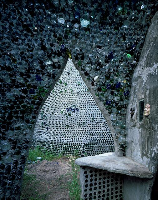 """Bottle House,"" an artist's home made largely of bottles near Beaumont, Texas"