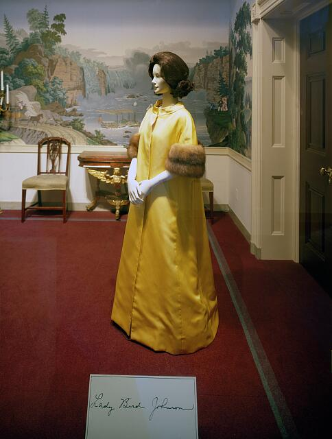 Inaugural gown worn by Lady Bird Johnson, one of several First Lady's gowns at the Smithsonian National Museum of American History, Washington, D.C.