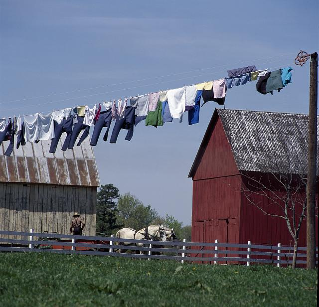 "Wash on a clothesline in ""Amish Country,"" Lancaster County, Pennsylvania"