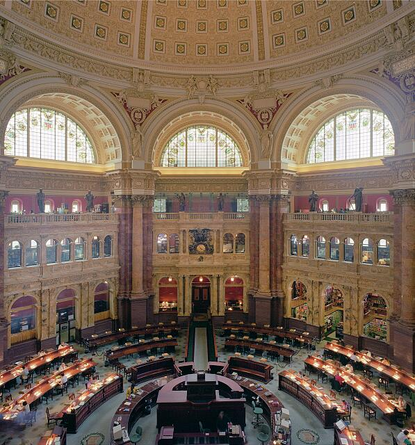 Reading Room at the Library of Congress&#39;s historic Thomas Jefferson Building, Washington, D.C.