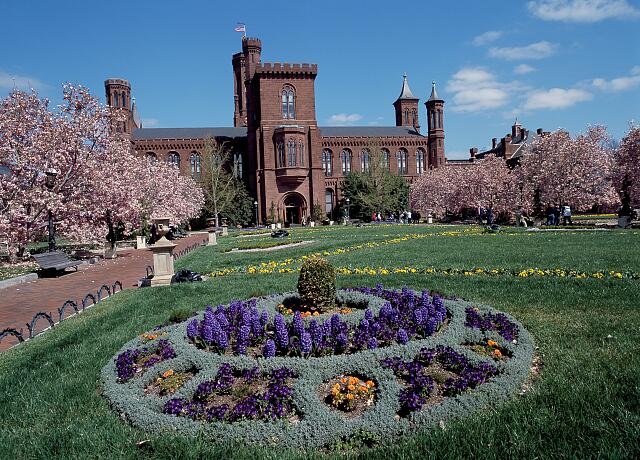"Springtime view of the Smithsonian Institution ""Castle,"" the museum complex's first building when it was simply called the ""National Museum."" Washington, D.C."