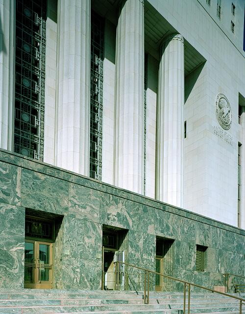 Architectural details of the U.S. Courthouse in Los Angeles, California