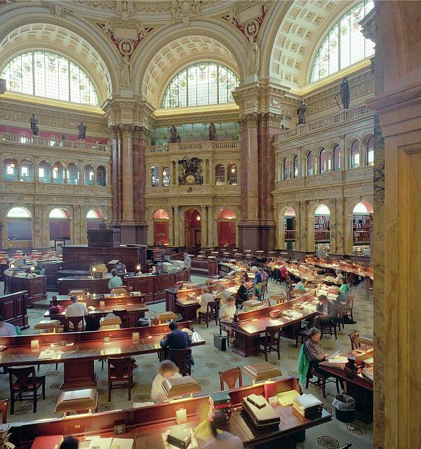 Reading room of the Library of Congress's historic Thomas Jefferson Building, Washington, D.C.