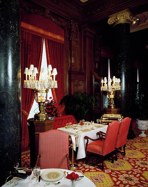 Dining room of the renovated Willard Hotel, Washington, D.C., which reopened in 1986 after almost falling to the wrecker's ball