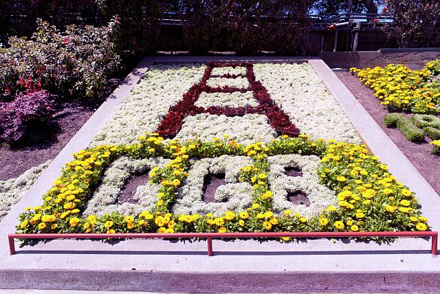 "[Flower bed with flowers arranged as ""GGB"" at The Golden Gate Bridge, San Francisco, California]"
