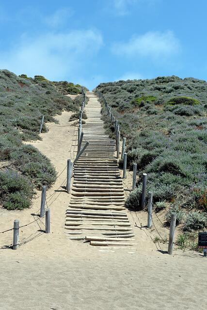 Steps in sand at Baker Beach in San Francisco, California