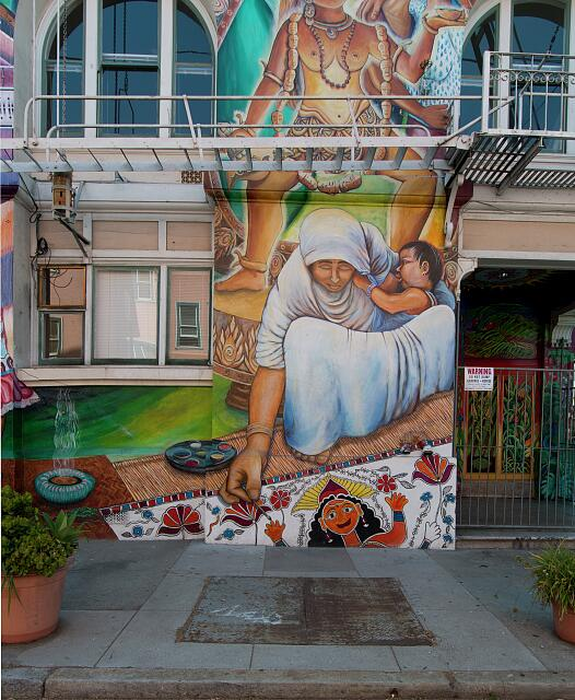 Maestrapeace mural on the Women's Building in the Mission District in San Francisco, California