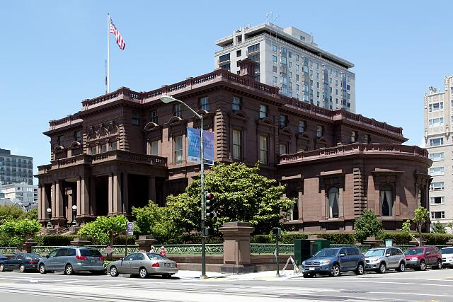 The Pacific-Union Club, a private social club located 1000 California Street on the top of Nob Hill. San Francisco, California