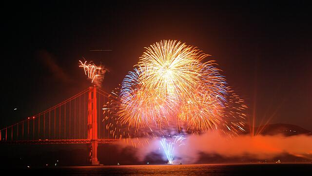 Golden Gate Bridge 75th Anniversary fireworks in San Francisco, California