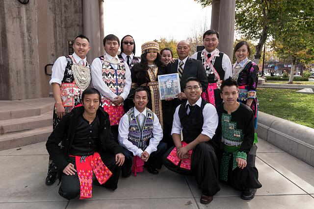 Some of the hundreds of participants at the 10th-annual Hmong New Year Celebration in downtown Chico, California, pose