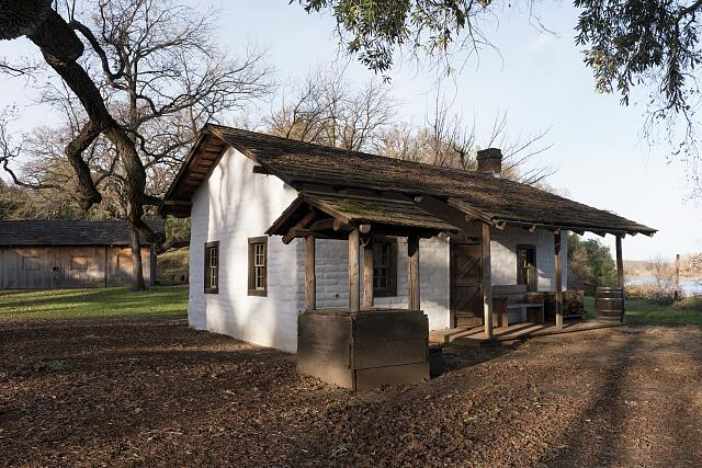 The adobe home of William Ide at the William B. Ide Adobe State Historic Park in Red Bluff, California