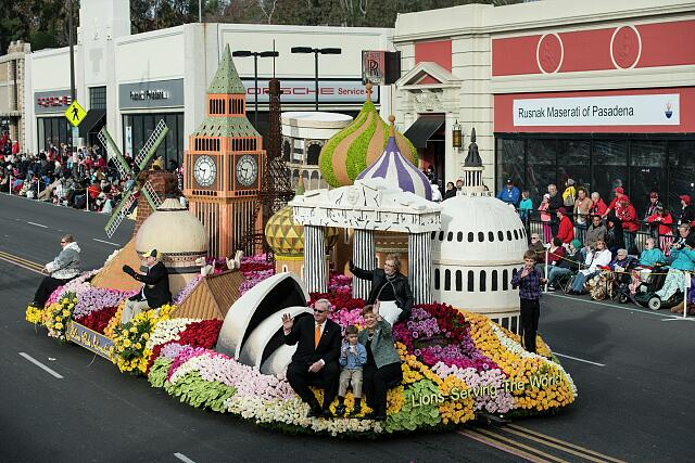 Lions Club International's float in the 124th Rose Parade in Pasadena, California