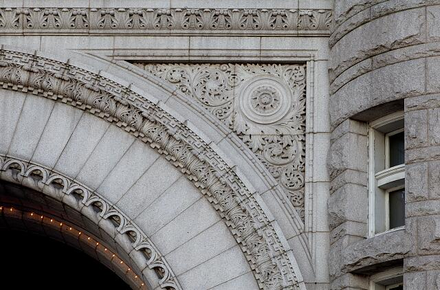 Architectural details at Old Post Office Building located on Pennsylvania Avenue in Washington, D.C.