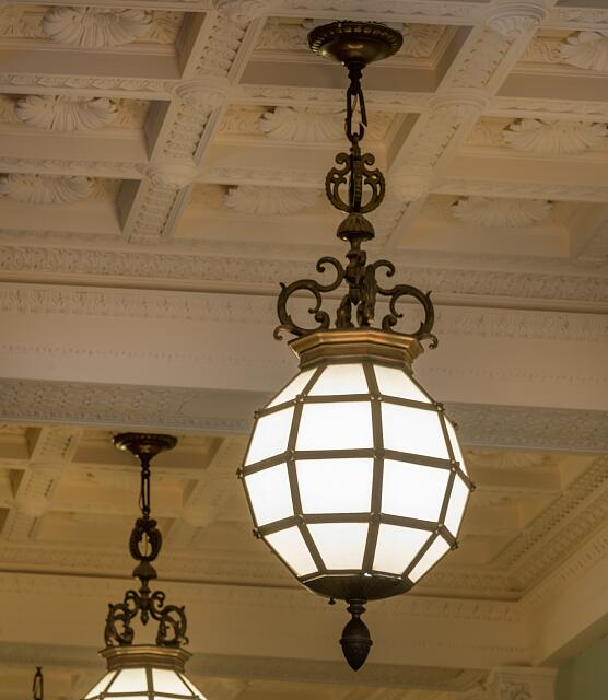 Light fixture at the Ed Edmondson Courthouse, also known as the U.S. Post Office and Courthouse, occupies an entire block between West Broadway, West Okmulgee Avenues and Fifth Street, Muskogee, Oklahoma