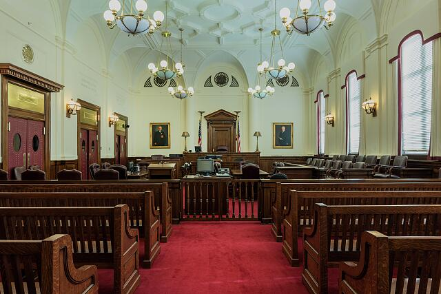 Courtroom at the Ed Edmondson Courthouse, also known as the U.S. Post Office and Courthouse, occupies an entire block between West Broadway, West Okmulgee Avenues and Fifth Street, Muskogee, Oklahoma