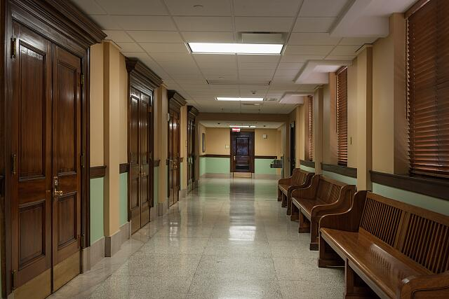 Hallway at the Ed Edmondson Courthouse, also known as the U.S. Post Office and Courthouse, occupies an entire block between West Broadway, West Okmulgee Avenues and Fifth Street, Muskogee, Oklahoma