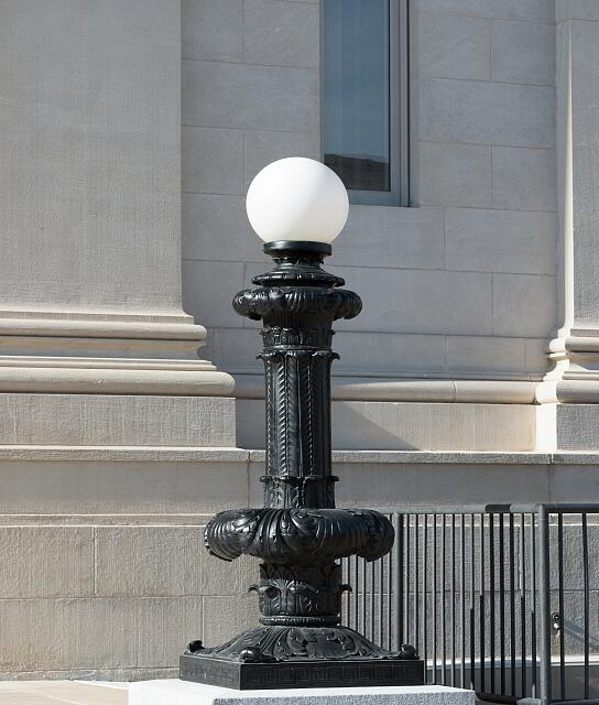 Exterior light fixture at the Ed Edmondson Courthouse, also known as the U.S. Post Office and Courthouse, occupies an entire block between West Broadway, West Okmulgee Avenues and Fifth Street, Muskogee, Oklahoma
