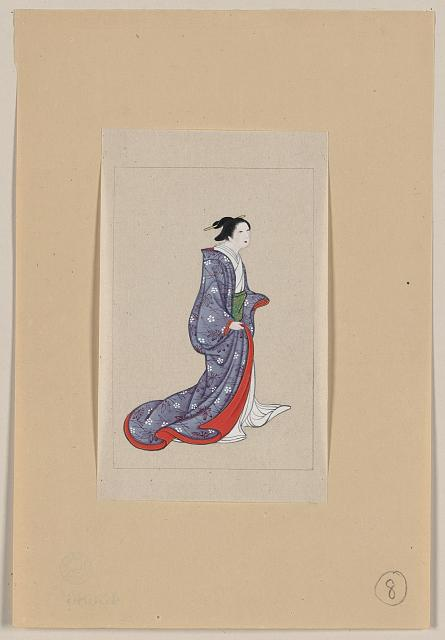 [Japanese woman, full-length, standing, facing right, wearing robe over kimono]