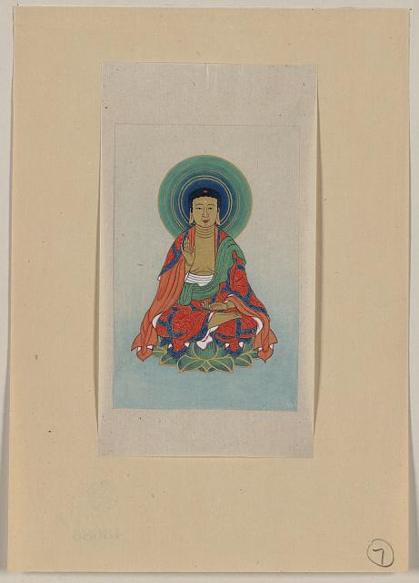 [Religious figure, possibly Buddha, sitting on a lotus, facing front, with blue/green halo behind his head]