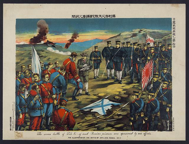 The severe battle of Teh-li-sz and Russian prisoners were questioned by our officers -- the illustration of the battls of Japa and Russia no. 14