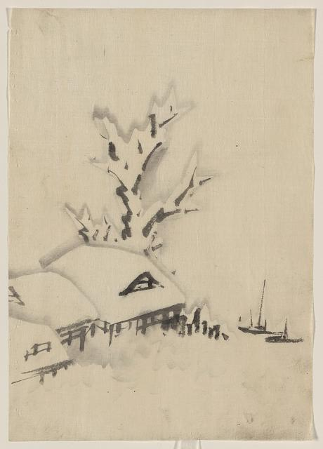[Buildings and large tree on the waterfront, with two boats anchored offshore]