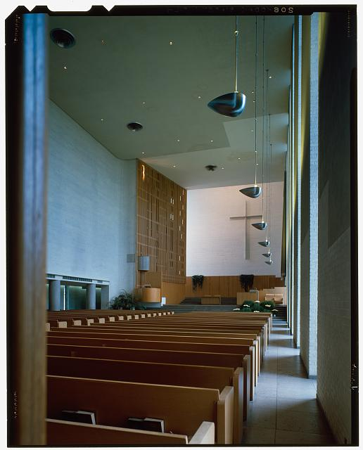 First Christian Church (originally Tabernacle Church of Christ; Columbus, Indiana, 1939-42; Saarinen and Saarinen). Interior