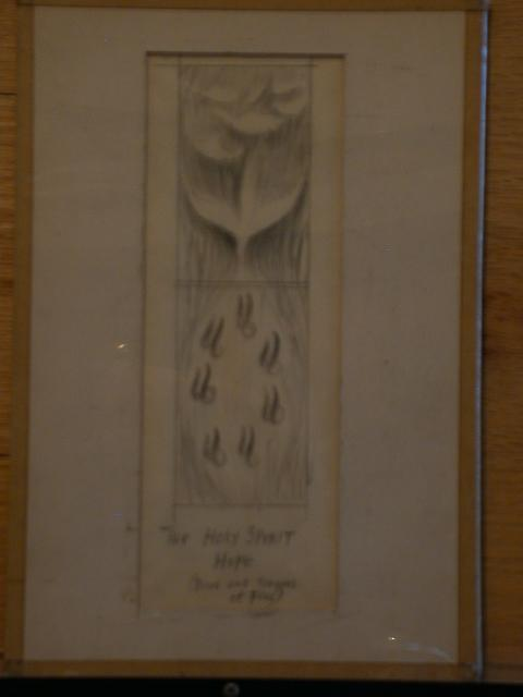 "[Design drawing showing Dove and tongues of Fire with text ""The Holy Spirit, Hope]"