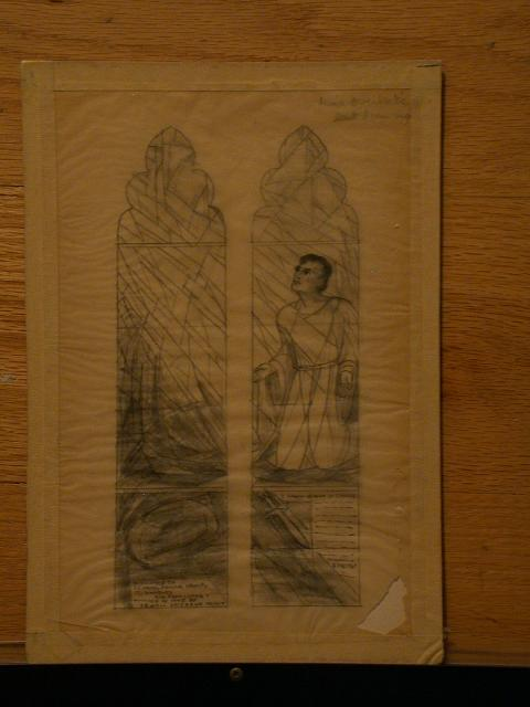 "[Design drawing for stained glass memorial window to St. Paul's prayer group showing St. Paul ""I Knew a Man in Christ 2 Cor 12:1,"" (i.e., 12:2)]"