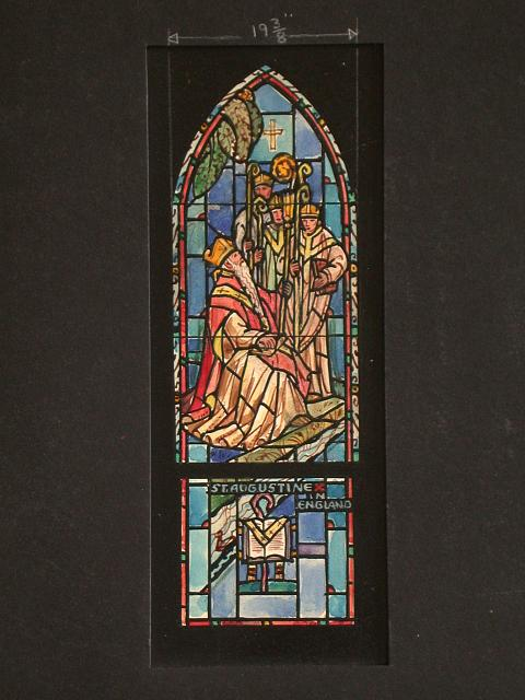 [Design drawing for stained glass window showing St. Augustine in England]