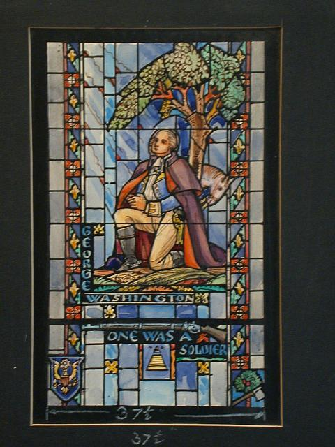 "[Design drawing for stained glass window showing George Washington in uniform, with rays of divine light, and icons: rifle, cherry tree, axe, Masonic pyramid/all-seeing-eye, Great Seal of the United States; with text ""One was a soldier""]"