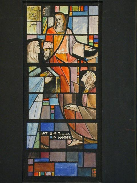 "[Design drawing for stained glass window showing Christ, casually with women, grapes on colorful geometric grid with text ""But One Thing is Needful, Luke 10:42"" for Church of the Good Shepherd in Bergenfield, New Jersey]"
