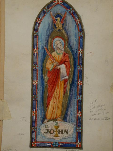 [Design drawing for mural with St. John]