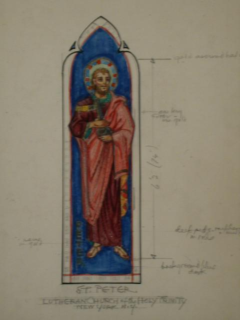 [Design drawing for mural with St. Peter holding key for Lutheran Church of the Holy Trinity in New York, New York]