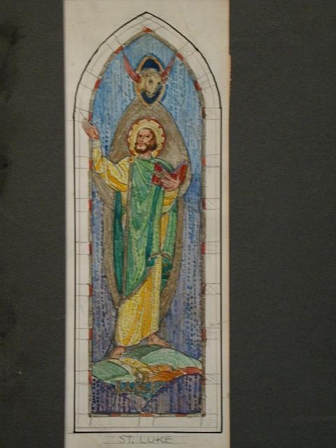 [Design drawing for mural showing St. Luke in green and yellow, with bull icon, Bible]