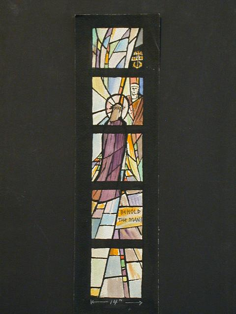 "[Design drawing for stained glass window with text ""Trial Before Pilate: Behold the Man!"" showing a stylized Christ with Pilate, SPQR-- Senatus Populusque Romanus-- standard]"