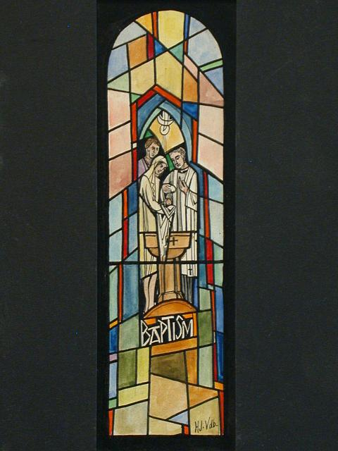[Design drawing for stained glass window showing Baptism with mother veiled]