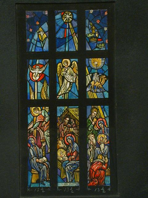 "[Design drawing for stained glass memorial window with elaborate Nativity scene and text ""Glory to God in the Highest""]"