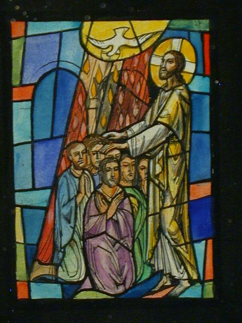 [Design drawing for stained glass window showing Confirmation]