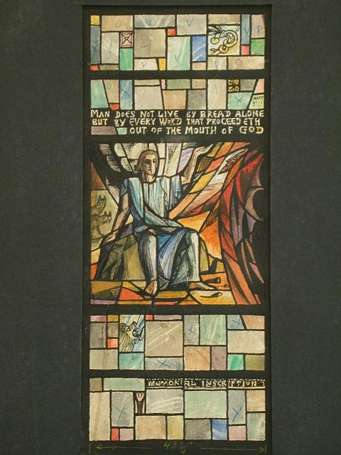 "[Design drawing for stained glass window for Grace Episcopal Church in Newport News, Virginia. A temptation window, ""Man Does Not Live By Bread Alone"" showing informal Christ with Satan on mid grid]"