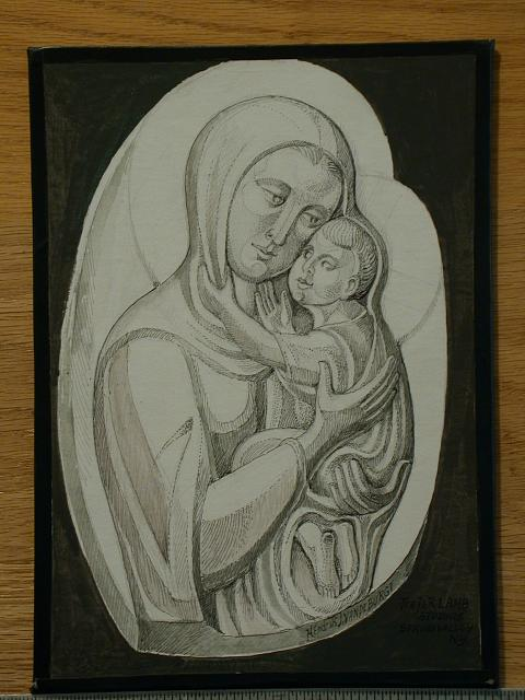 [Design drawing with Madonna and Child for St. Stephen Episcopal Church in Longview, Washington]