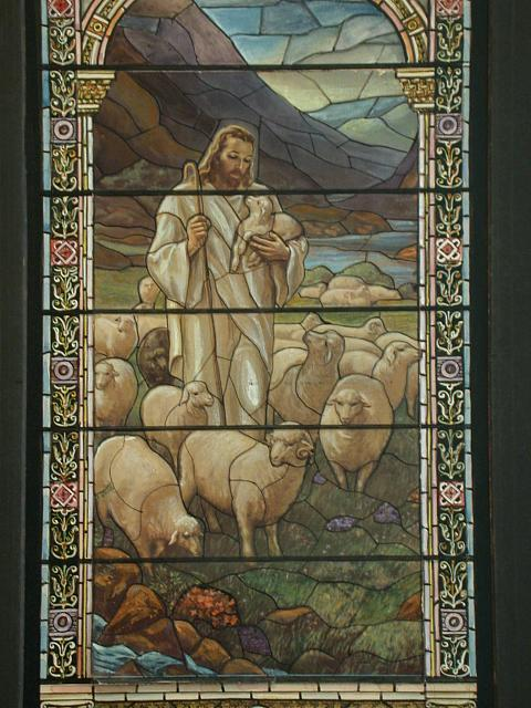 [Design drawing for stained glass window showing I Am the Good Shepherd, Beatific with dove, and Corinthian capitals]